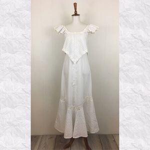 Vintage Cap Sleeve Tiered A-Line Maxi Dress